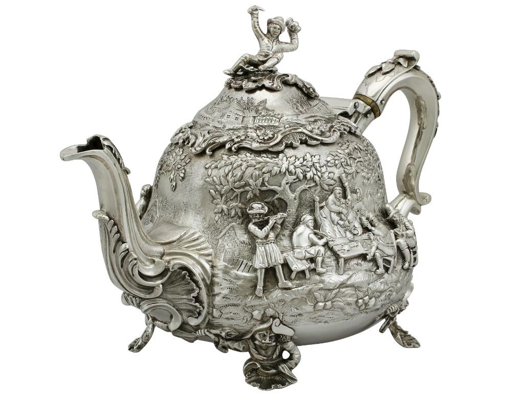 Sterling Silver Teapot by Edward Farrell - Antique George IV
